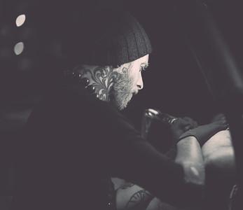 Eli (Black Arm Pirate) creates a tattoo at the Evil Genius Tattoo Club.