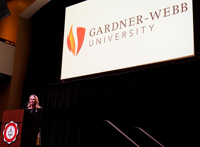Gardner-Webb University's 13th president, Dr. William D. Downs and his wife, Kim Downs, meet the faculty and staff for the first time at an evening reception in Tucker Student Center on Feb. 21, 2019.