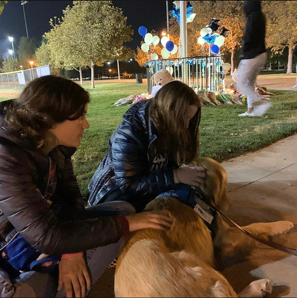 LCC K-9 Comfort Dog Micah at a Vigil for Those Affected by the Saugus HS Shooting- Santa Clarita, CA