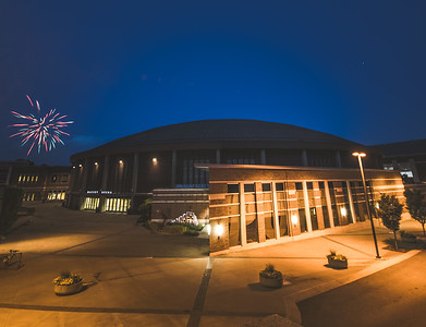 Fireworks over Mackey Arena on the campus of Purdue University