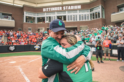 Jon and Rylee Hershberger embrace after winning the Bremen vs. Tecumseh state championship game on Saturday, June 8, 2019 at Bittinger Stadium.