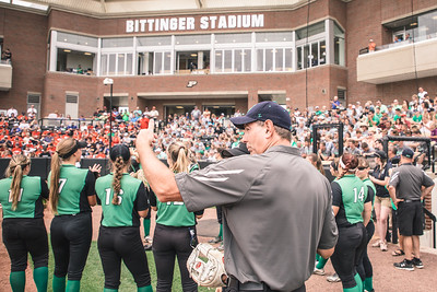 Head Coach Mike Huppert instructs a player prior to the Bremen vs. Tecumseh state championship game on Saturday, June 8, 2019 at Bittinger Stadium.