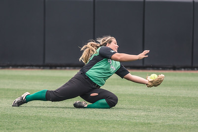 Rylee Hershberger makes a diving attempt during the Bremen vs. Tecumseh state championship game on Saturday, June 8, 2019 at Bittinger Stadium.
