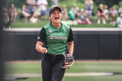 Erin Coffel celebrates a big play during the Bremen vs. Tecumseh state championship game on Saturday, June 8, 2019 at Bittinger Stadium.