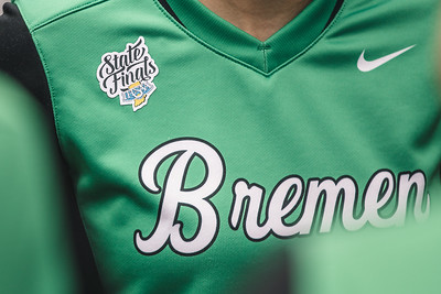 The State Finals patch on a Bremen jersey prior to the Bremen vs. Tecumseh state championship game on Saturday, June 8, 2019 at Bittinger Stadium.