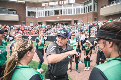 Coach Jon Hershberger dances with his team prior to the Bremen vs. Tecumseh state championship game on Saturday, June 8, 2019 at Bittinger Stadium.