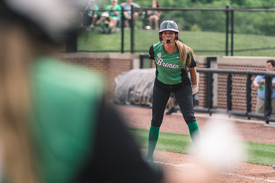 Caitlyn Myers celebrates a single during the Bremen vs. Tecumseh state championship game on Saturday, June 8, 2019 at Bittinger Stadium.