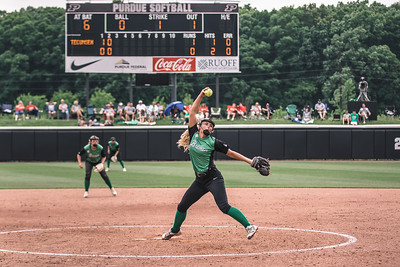 Kaelyn Shively pitches during the Bremen vs. Tecumseh state championship game on Saturday, June 8, 2019 at Bittinger Stadium.