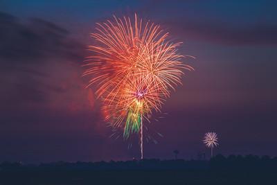 Fireworks over Brookston, Indiana