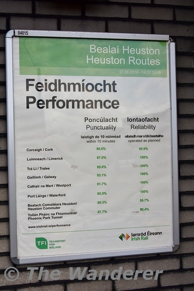 Performance information for period 7 Heuston routes. Mon 05.08.19