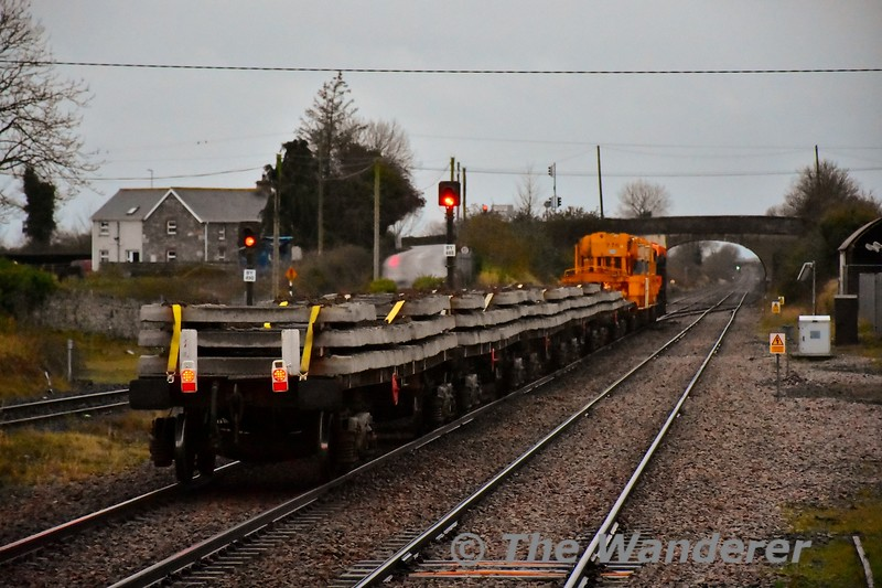 The relay train for the Nenagh Branch has been hauled by retro CIE liveried 071 most days it has operated. IE are currently relaying about 4 miles of track on the branch. <br /> <br /> This morning I was lucky enough to catch it passing Ballybrophy just after I had alighted from the rail replacement bus from Nenagh. The relay train was heading from Portlaoise, departing at 0815  to Lisduff for 071 to run around before heading back to Ballybrophy to access the branch. The train will then run to Roscrea for 071 to run around again before heading back to the worksite near Borris in Ossory. Thurs 05.12.19