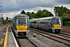 As 22041 departs from the bay platform in Hazelhatch with the 1135 to Grand Canal Dock, sister unit 22042 flies past on the Down Fast with the 1125 Heuston - Galway. Tues 11.06.19