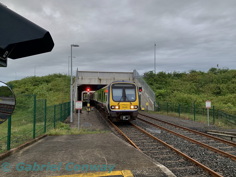 Due to overnight engineering works at Glasnevin Jct. a 4 car 29000 is being stabled in the headshunt at M3 Parkway and an 8 car 29000 is being stabled in Maynooth. Here we see 29015 being shunted from the headshunt to the station to form the 0650 M3 Parkway - Connolly. Wed 01.05.19<br /> <br /> Picture courtesy of Gabriel Conway.