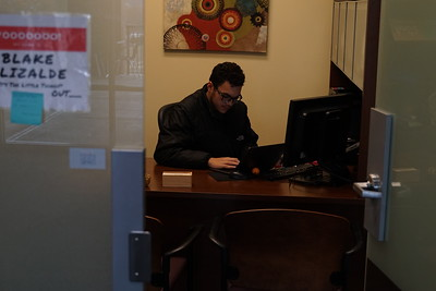 Freshman Blake Elizalde working on his first day for Sodexo in his new office
