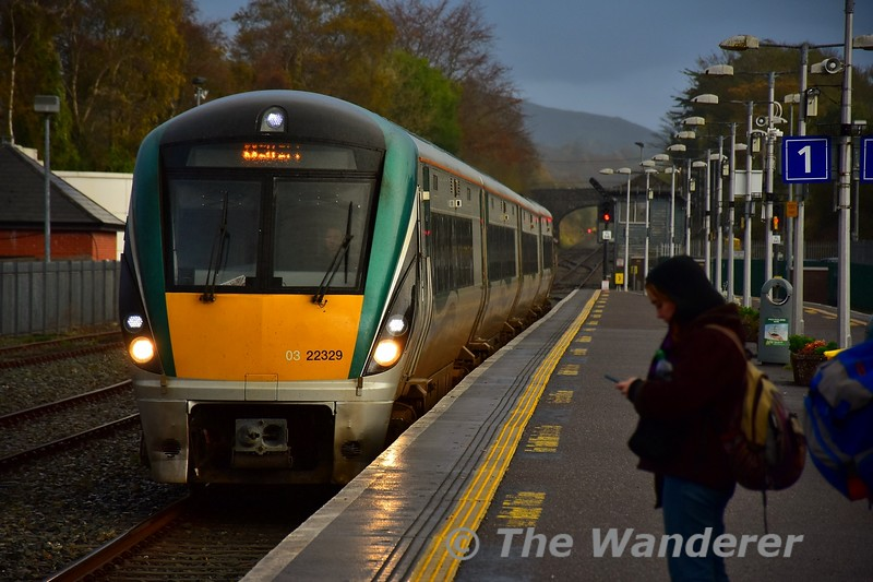 22029 arrives into Killarney from the Check Siding with the 1505 Tralee -  Mallow. Sun 03.11.19