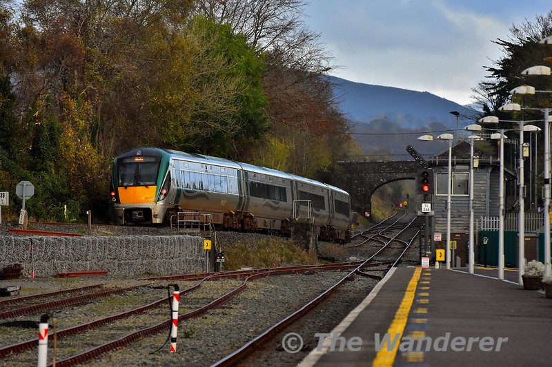22029 rolls down the bank towards Killarney Check Siding with the 1505 Tralee - Mallow. At the Check Siding the train will reverse to gain access to the station before reversing once again to continue the journey to Mallow. Sun 03.11.19