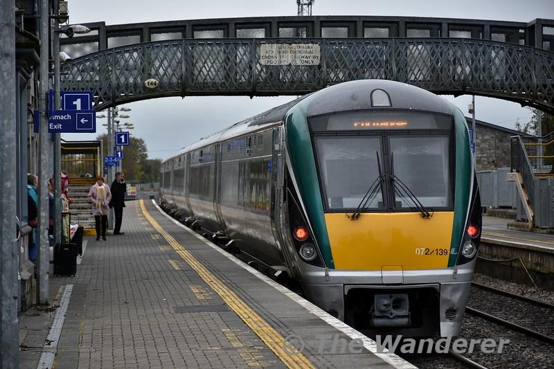22039 departs from Portlaoise operating the 1330 Portlaoise - Laois Depot Empty. Fri 01.11.19