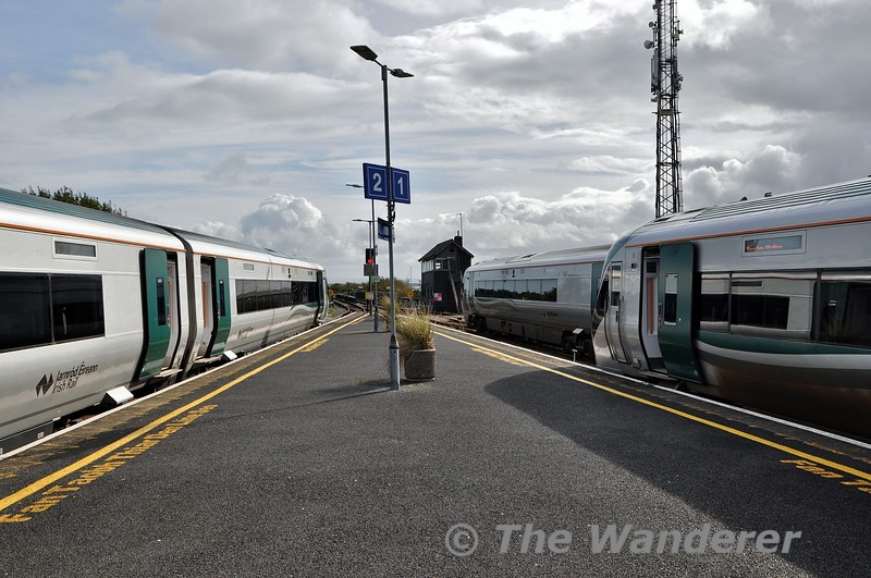 A full house of 22000's at Galway. On the left is 22004 with the 1345 Galway - Limerick Jct. This service is 3ICR operated on Friday Only to cater for heavy loadings on the Western Rail Corridor. In the middle is 22002 (22001) with the 1305 to Heuston and stabled in the siding is 22041 which will be working the 1435 Galway - Heuston Spl. which is a regular Friday Only special to cater for the heavy student traffic demand on offer from Galway. Fri 11.10.19