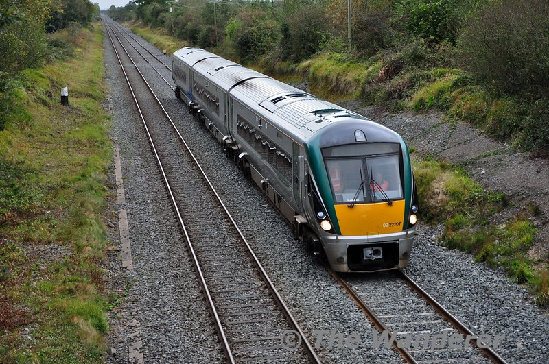 22007 has been chosen for the trial of the MTU powerpacks fitted with a ZF transmission instead of a Voith transmission. After static testing at Laois Traincare Depot the set ventured out on mainline on Thursday 10th October  with a 1000 Laois Traincare Depot - Mallow and 1310 Mallow - Laois Traoincare Trial. <br /> <br /> The return working is pictured at Clonkeen just south of the traincare depot. The next stage of the trial process will see it operating between Drogheda and Dundalk from Sunday to Friday. Thurs 10.10.19