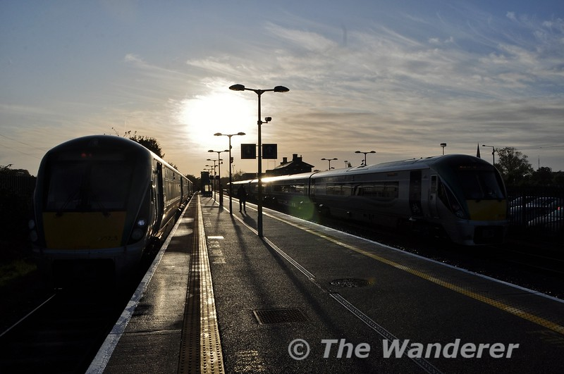 The low morning Sun backlights 22025 and 22009  +22052 at Athlone. Fri 11.10.19