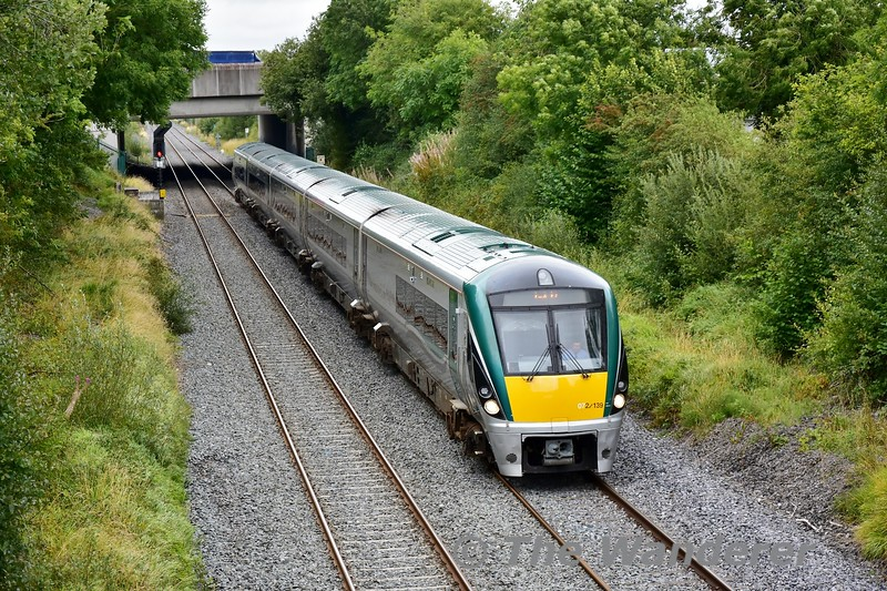 The first refreshed 5ICR set 22039 was released back to traffic after its interior refresh and extended repairs at Laois Traincare Depot on Friday 30th August 2019. On Monday 2nd September it was especially allocated to the Kerry Team G.A.A. Special at 1330 from Heuston to Tralee. The special is seen passing Clonkeen south of Laois Depot. On arrival at Tralee the set went empty to Cork and on Tuesday operated 0530 Cork - Portlaoise Ety. to form the 0720 Portlaoise - Heuston. Mon 02.09.19