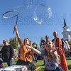 Making giant bubbles is half the fun - catching them is the other half.