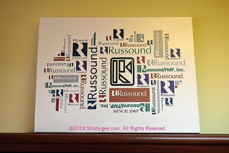 A display of Russound logos