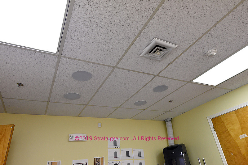 Russound conference room ceiling where a demonstration has been set up