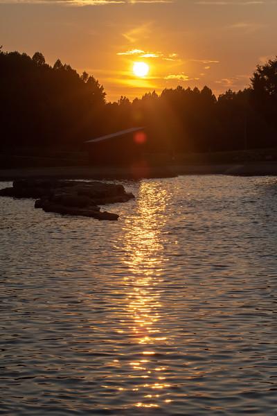 sunset views at national whitewater center in north carolina