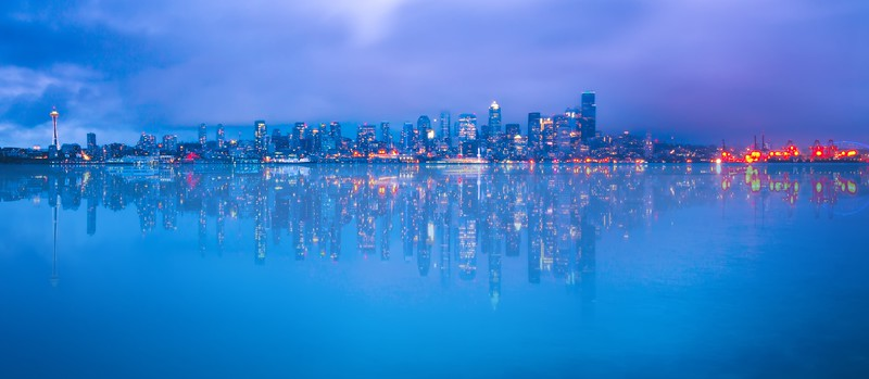 Downtown Seattle Skyline Elliott Bay Puget Sound Office Building