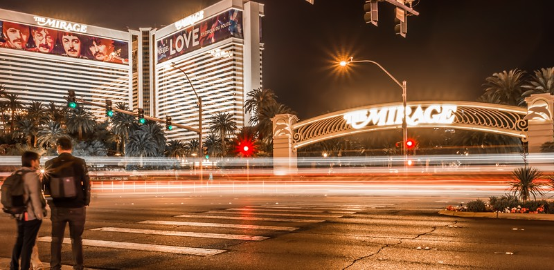 high energy electric long exposure of las vegas city streets at night