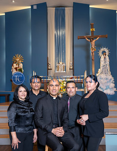 Father Jesus Belmontes, pastor of San Juan Diego Catholic Church, is joined by some of the members of the orchestra that performed with him at the parish's annual festival on Sept. 1, 2019. Clockwise from left, Marlene Contreras, Antonio Contrerars, musical director Juan Davila, and Estela Jaimes. (All names CQ)