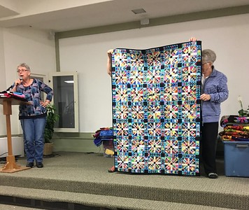 Mary Hausauer showed a quilt that is one of the Teal Project quilts.  Maker unknown, but Mary was very impressed with the skilled piecing and beauty of the quilt.