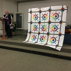 Dan Burke showed a quilt top he finished.  Pattern is Luminosity by Jacqueline DeJonge.  IT is not paper pieced.
