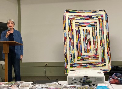 Jackie made this quilt from fabrics from the Quilter's Treasure table.