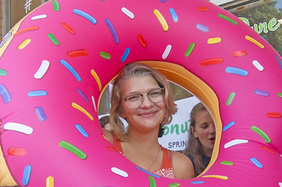 Michelle Beer, from Spring Lake, wins the older kid portion of the contest The Spring Lake sidewalk sale and doughnut eating contest in Spring Lake, NJ on 8/17/19. [DANIELLA HEMINGHAUS]