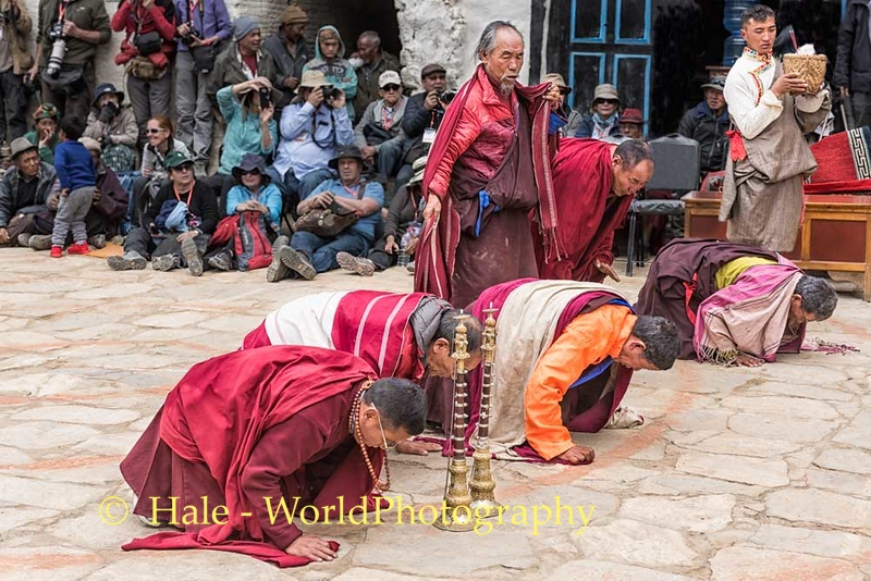 Monks Paying Respect to Sacred Thanaka