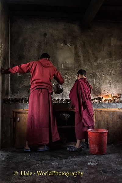 Filling Butter Lamps In the Morning