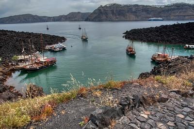 Santorini, Greece:  Tourist Boats Bring Tourist to the Volcano