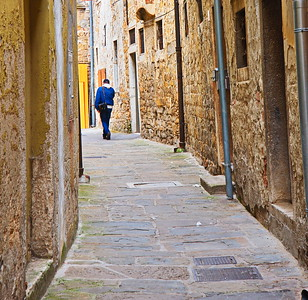 Solitary Walker in Koper, Slovenia