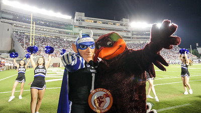 The Hokiebird and the Blue Devil pose next to the South Endzone during a media timeout. (Mark Umansky/TheKeyPlay.com)