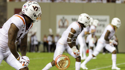 VT WR Tre Turner (11) watches for the snap alongside the rest of the wide reciever corps. (Mark Umansky/TheKeyPlay.com)