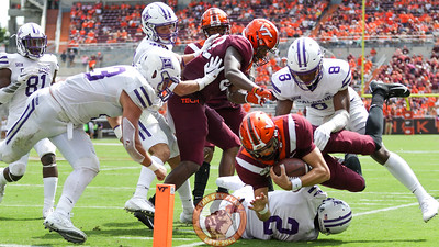 VT QB Ryan Willis attempts to dive into the endzone but is pushed out of bounds at the 1 yard line. (Mark Umansky/TheKeyPlay.com)