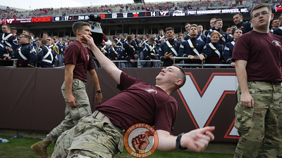 A member of the Corps of Cadets dances in the South Endzone after a Hokies touchdown. (Mark Umansky/TheKeyPlay.com)