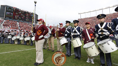 Current and alumni members of the Highty Tighties play Tech Triumph after Enter Sandman during pregame ceremonies. (Mark Umansky/TheKeyPlay.com)