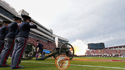 The Virginia Tech Corps of Cadets fire the Skipper cannon at the end of the national anthem. (Mark Umansky/TheKeyPlay.com)
