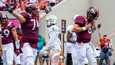 Ryan Willis dusts himself off after scoring a touchdown in the matchup against Old Dominion University in Lane Stadium on Saturday, Sept. 7, 2019. (Photo: Cory Hancock)