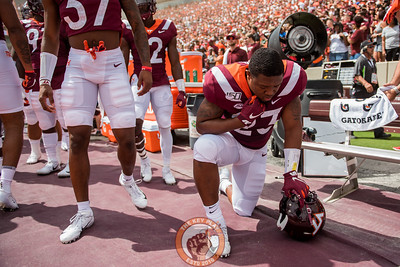 Rayshard Ashby takes a moment prior to playing Old Dominion University in Lane Stadium on Saturday, Sept. 7, 2019. (Photo: Cory Hancock)