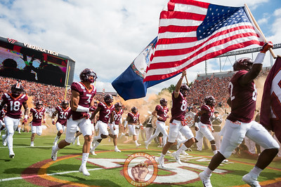 The Hokies take the field in their home opener against Old Dominion University in Lane Stadium on Saturday, Sept. 7, 2019. (Photo: Cory Hancock)