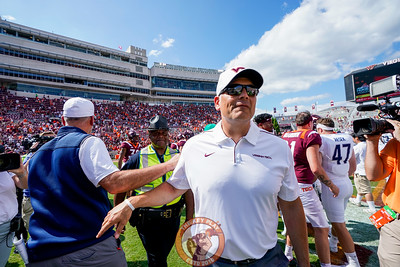 Head coach Justin Fuente walks through midfield after the matchup against Old Dominion University in Lane Stadium on Saturday, Sept. 7, 2019. (Photo: Cory Hancock)